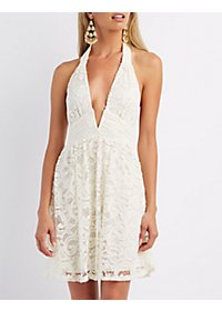 Plunging Lace Halter Dress