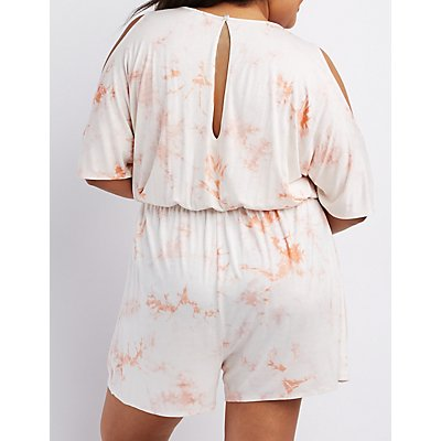 Plus Size Tie-Dye Cold Shoulder Romper