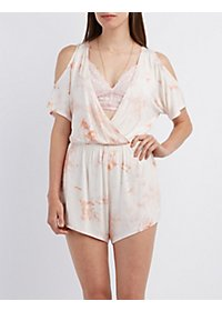 Tie-Dye Cold Shoulder Romper