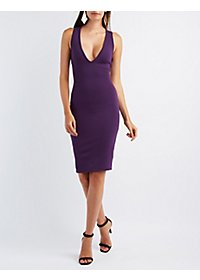 Plunging Caged Bodycon Dress