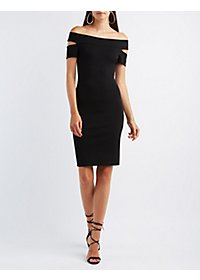 Cut-Out Boat Neck Bodycon Dress