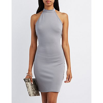 Mock Neck Halter Bodycon Dress