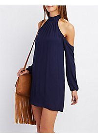 Cold Shoulder Mock Neck Shift Dress