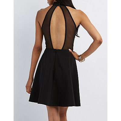 Mock Neck Plunging Skater Dress