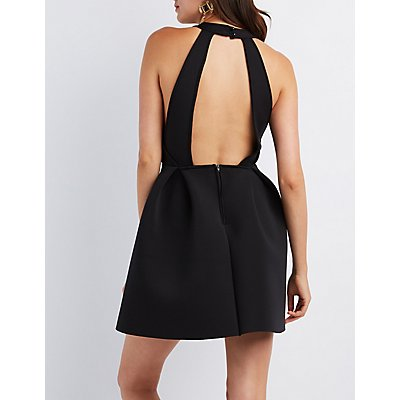 Cut-Out Scuba Skater Dress