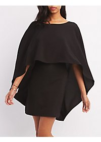 Open-Back Caped Shift Dress
