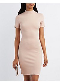 Mock Neck Bodycon Cut-Out Dress