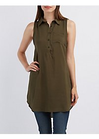 Collared Sleeveless Tunic Top