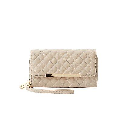 Quilted Double Zipper Wristlet Wallet