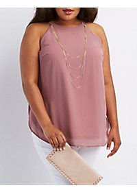 Plus Size Necklace Sleeveless Top