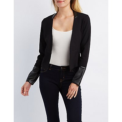 Faux Leather Trimmed Blazer