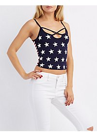 Strappy Stars & Stripes Crop Top