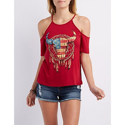 Graphic Cold Shoulder Tee