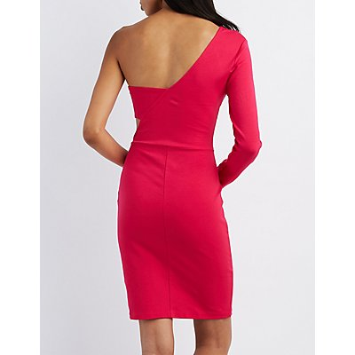 One-Shoulder Bodycon Midi Dress