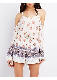 Floral Print Cold Shoulder Romper