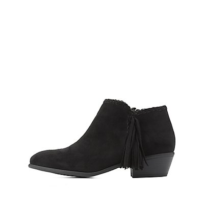 Fringe-Trim Ankle Booties