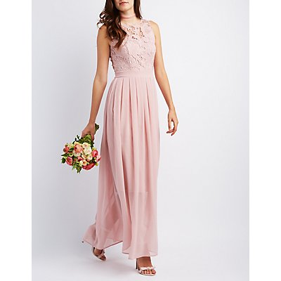 Lace & Chiffon Maxi Dress | Charlotte Russe