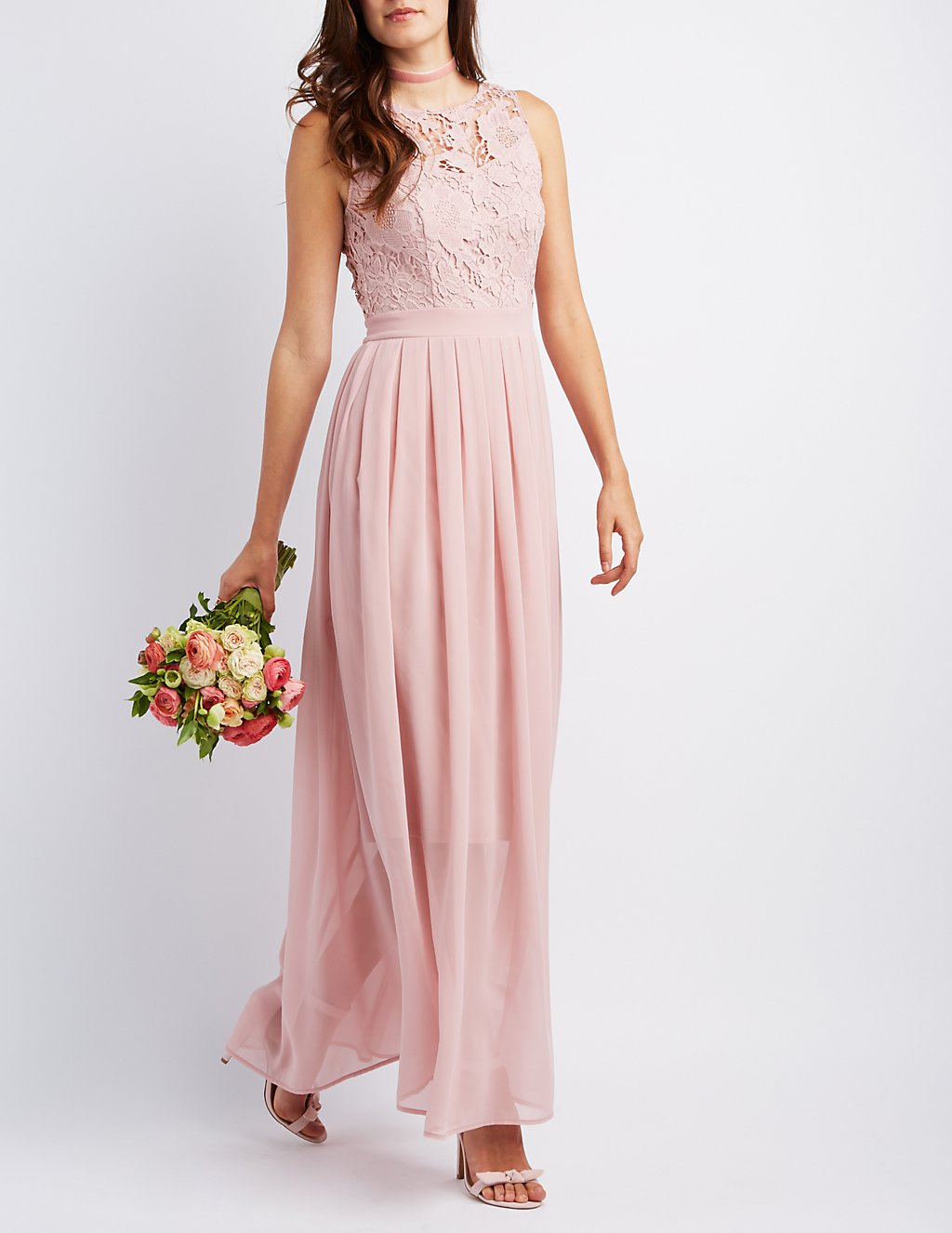 Lace & Chiffon Maxi Dress | Charlotte Russe