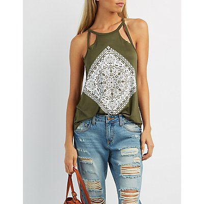 Medallion Graphic Cut-Out Tank