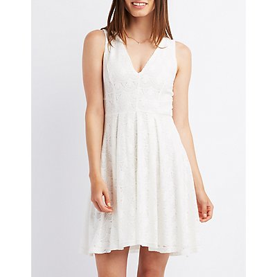Lace Sleeveless Skater Dress
