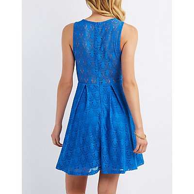 Lace Sleeveless Skater Dress