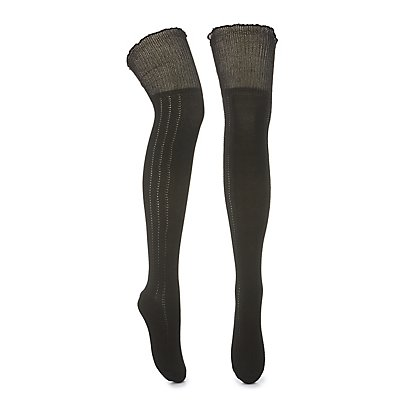 Textured & Ruffled Over-the-Knee Socks