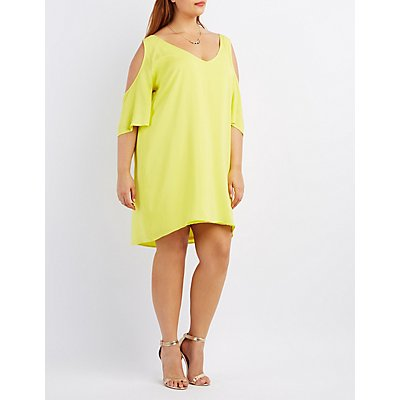 Plus Size Cold Shoulder Shift Dress