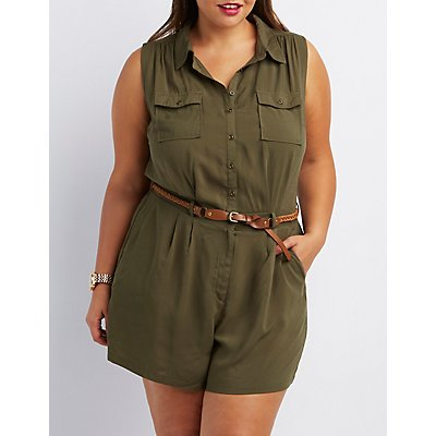 Plus Size Button-Up Cargo Romper