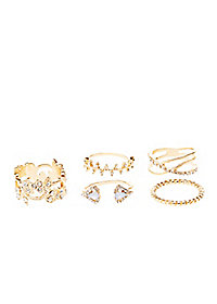 Filigree & Diamante Rings - 5 Pack
