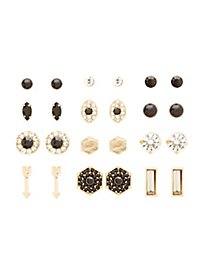 Gem & Rhinestone Mixed Stud Earrings - 12 Pack