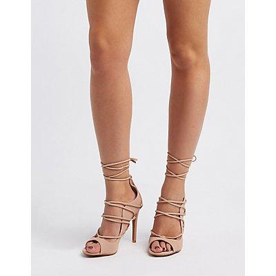 Peep Toe Lace-Up Heels   Charlotte Russe