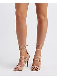 Peep Toe Lace-Up Heels
