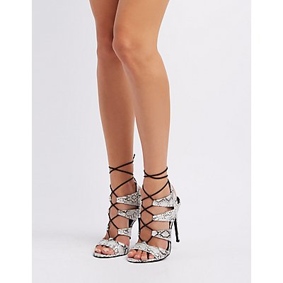 Caged Lace-Up Dress Sandals