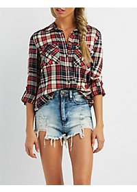 Button-Up Plaid Pocket Top