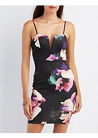 Floral Notched Bodycon Dress