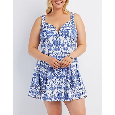 Plus Size Plunging Printed Skater Dress
