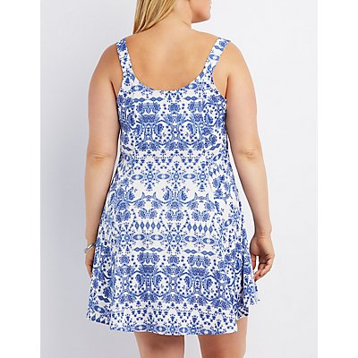 Plus Size Plunging Printed Skater Dress