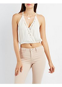 Lace-Trim Surplice Crop Top