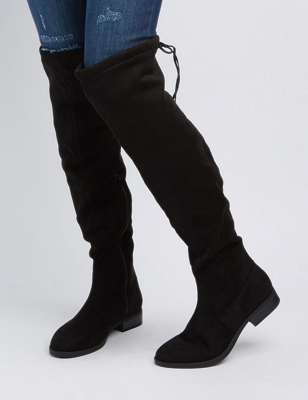 Drawstring Flat Over-The-Knee Boots | Charlotte Russe