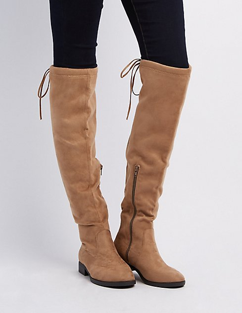 Brown Over The Knee Flat Boots - Cr Boot