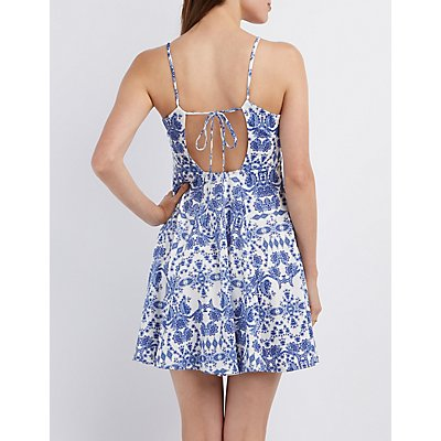 Brocade Print Tie-Back Dress