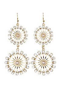 Embellished Wheel Drop Earrings