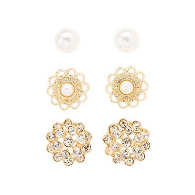 Embellished Stud Earrings - 3 Pack