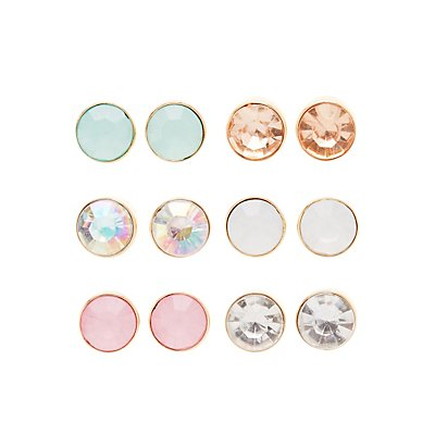 Faced Stone Stud Earrings - 6 Pack