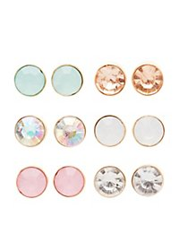 Faced Stone Stud Earrings - 6 Pack