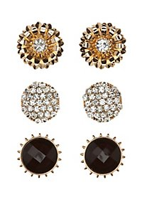 Embellished Stud Earrings - 3 Pack