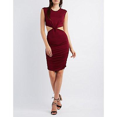 Knot Waist Cut-Out Bodycon Dress