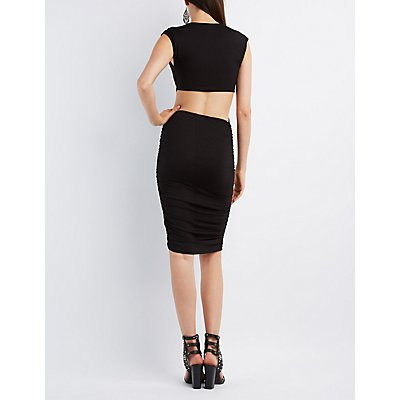 Knot Waist Cut-Out Bodycon Dress
