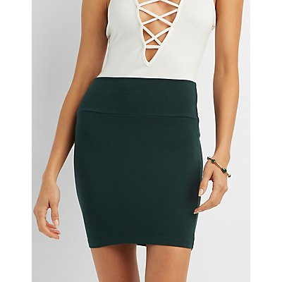 Solid Bodycon Mini Skirt