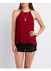 Bib Neck Crochet-Trim Tank